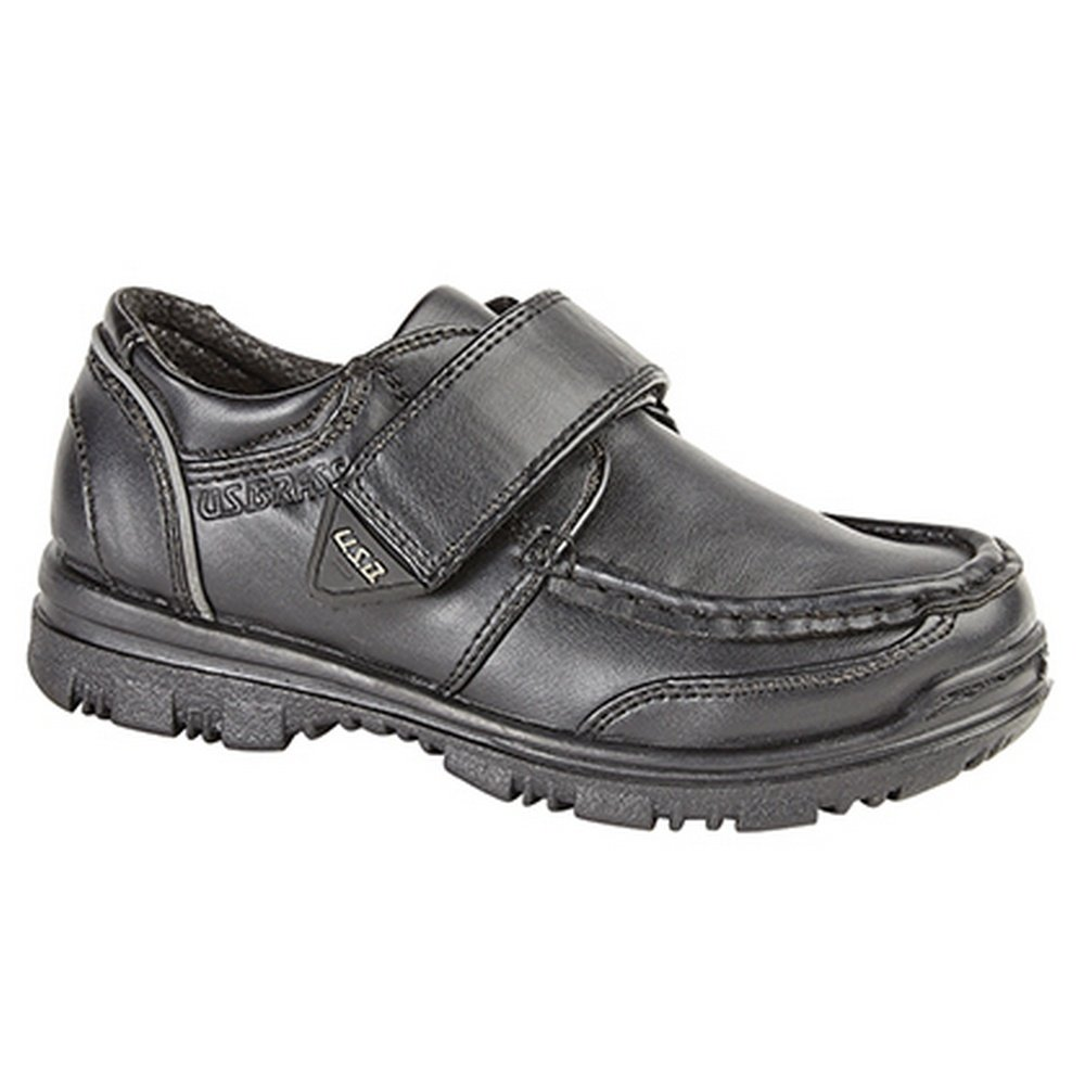 US Brass Boys Mark/Marvin Touch Fastening Boat Shoes (3 US) (Black)