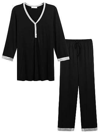 MAXMODA Womens Cotton Long Sleeve Pajamas Set Sleep Shirt with Elastic Waist Pants Black S