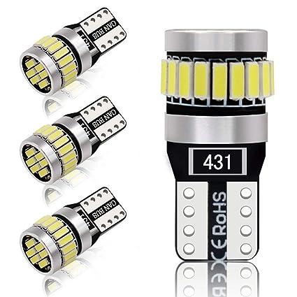 4pcs 194 W5W T10 led canbus no error Bombillas de cuña 24 leds 4014SMD Luces de posición Placa de la lámpara del coche Juego Interior del coche 6000k ...