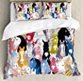 Ambesonne Abstract Home Decor Duvet Cover Sete, Pattern with Colourful Cartoon Horses Pony Childhood Childish Artwork, Decorative Bedding Set with Pillow Shams