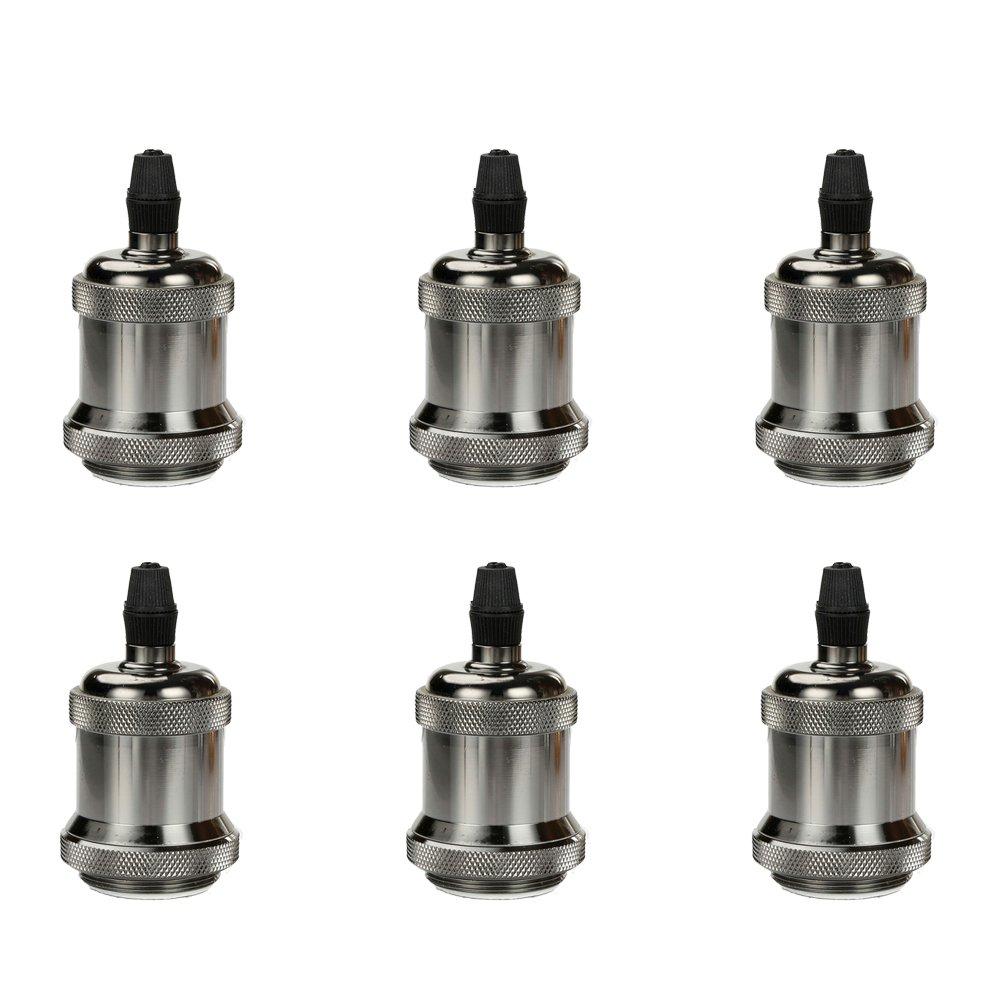 Lamp Base, Frideko 6 Pack Aluminum Vintage Copper E27 Edison Bulb Socket with Ceramic Base for Pendant Light/Wall Light (Pearl Black)