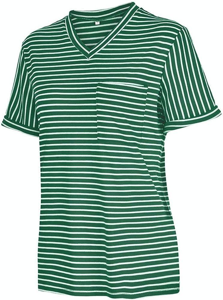 Boutique sale Camisa De Suéter con Cuello En V para Mujer Tops De Manga Larga Suéter De Punto Delgado Mujer Verano Túnica Cómoda Bloque De Color Camiseta Casual Tops De Manga Corta: