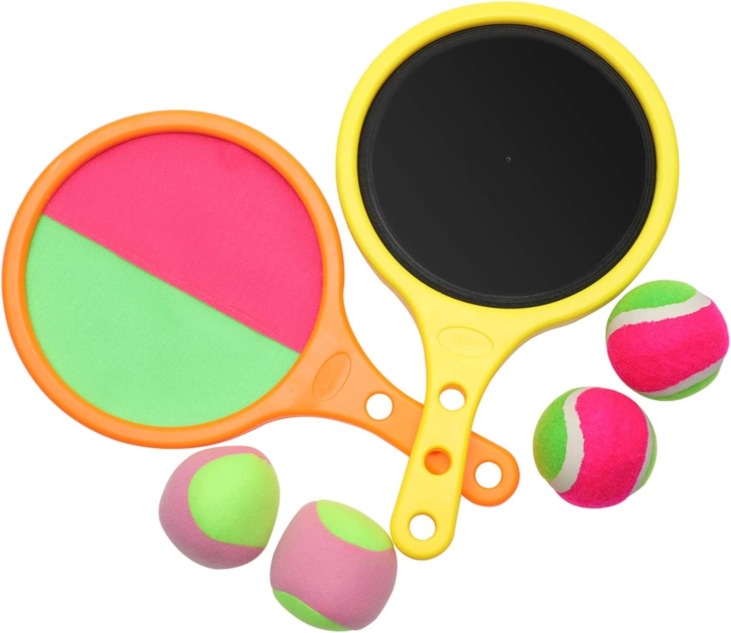 NUYYUN Paddle Catch Ball Toss Game Set,Toss Ball Catch Game,Outdoor Beach Sports Sticky Ball Game Toy for 3-8 Years Old Boy Girl Kids/Adults and Family Birthday Gifts (2 Paddle ,4 Ball)