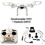 FunTomia Quadrocopter RC Drohne MJX X101 Wifi 6-Axis Gyro Quad-copter Real Time 2.4 GHz mit einer FPV Kamera C4010 4GB Memory-Card USB Stick und 4,7V 1200mAh Lithium Akku (1x Quadrocopter + 1x Kamera)