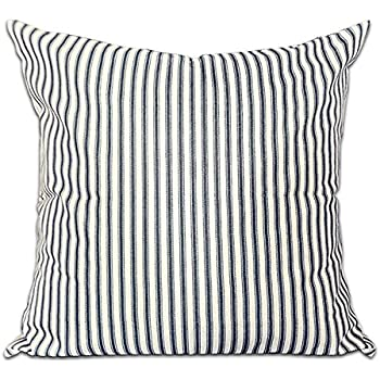 CHICCAT Ticking Stripe Pillow Cover French Ticking Pillow Cotton Linen Square Decorative Throw Pillow Case Cushion Cover 18 X 18
