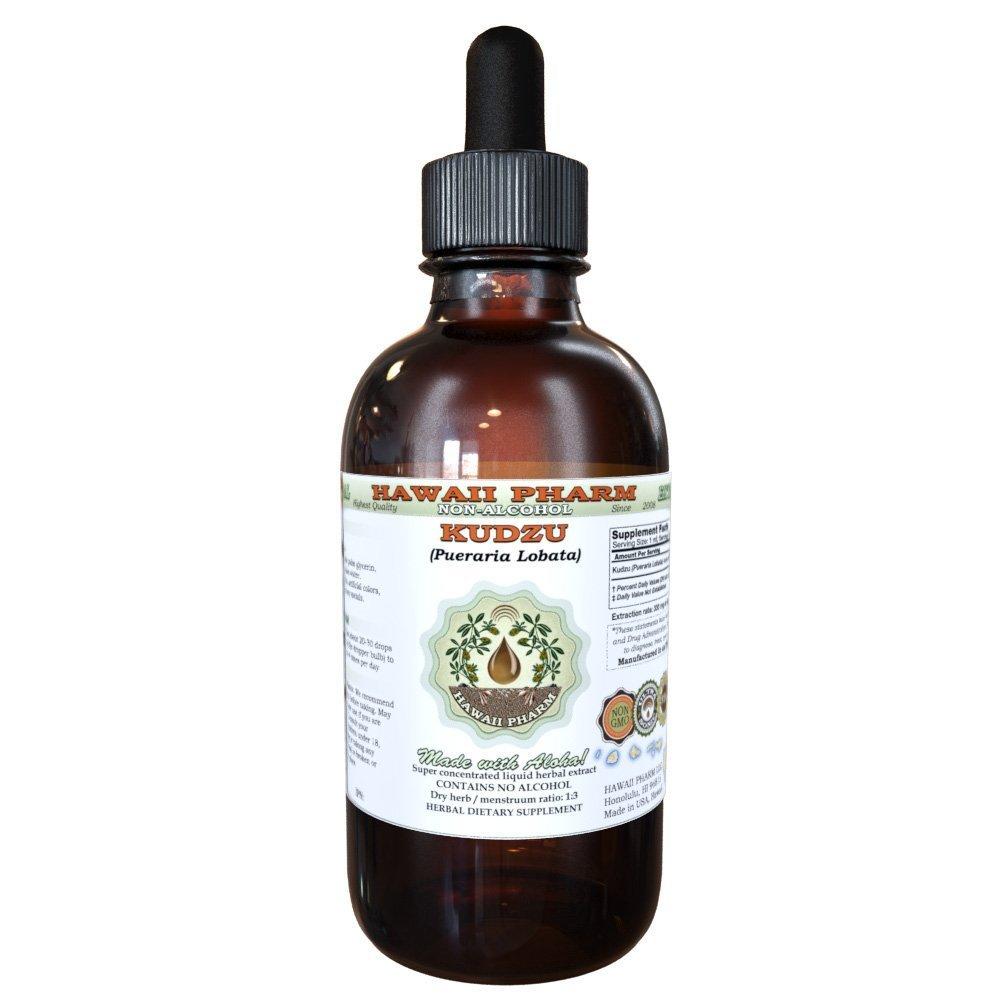Kudzu Alcohol-FREE Liquid Extract, Organic Kudzu (Pueraria lobata) Dried Root Glycerite Hawaii Pharm Natural Herbal Supplement 2 oz