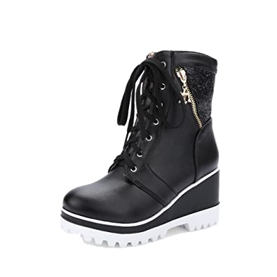 Women's Low-Top Lace-up Soft Material High-Heels Round Closed Toe Boots
