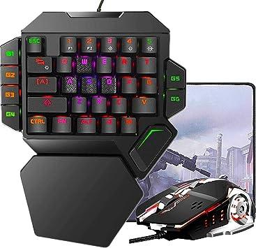 RGB Teclado mecánico para Juegos con una Sola Mano, Teclado de Juego Profesional con retroiluminación, Teclado mecánico de una Sola Mano con Cable ...