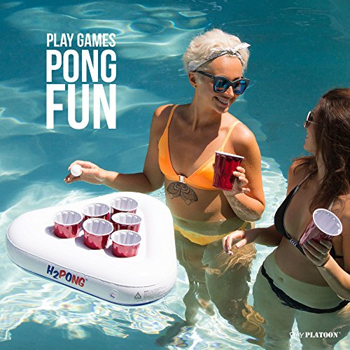 H2pong Inflatable Beer Pong Racks Includes 5 Ping Pong Balls Floating Pool Ebay