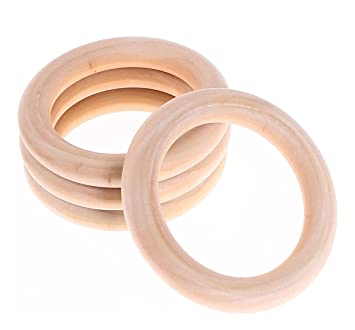4 light Wood Rings Connector Como 45 mm Wooden Rings Connector makramee