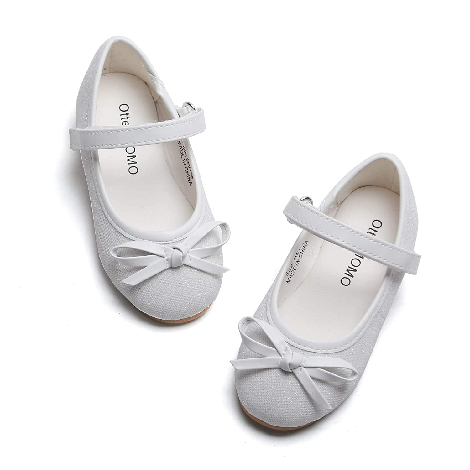 Otter MOMO Toddler Girls Ballet Flats Mary Jane Dress Shoes with Bow Knot White