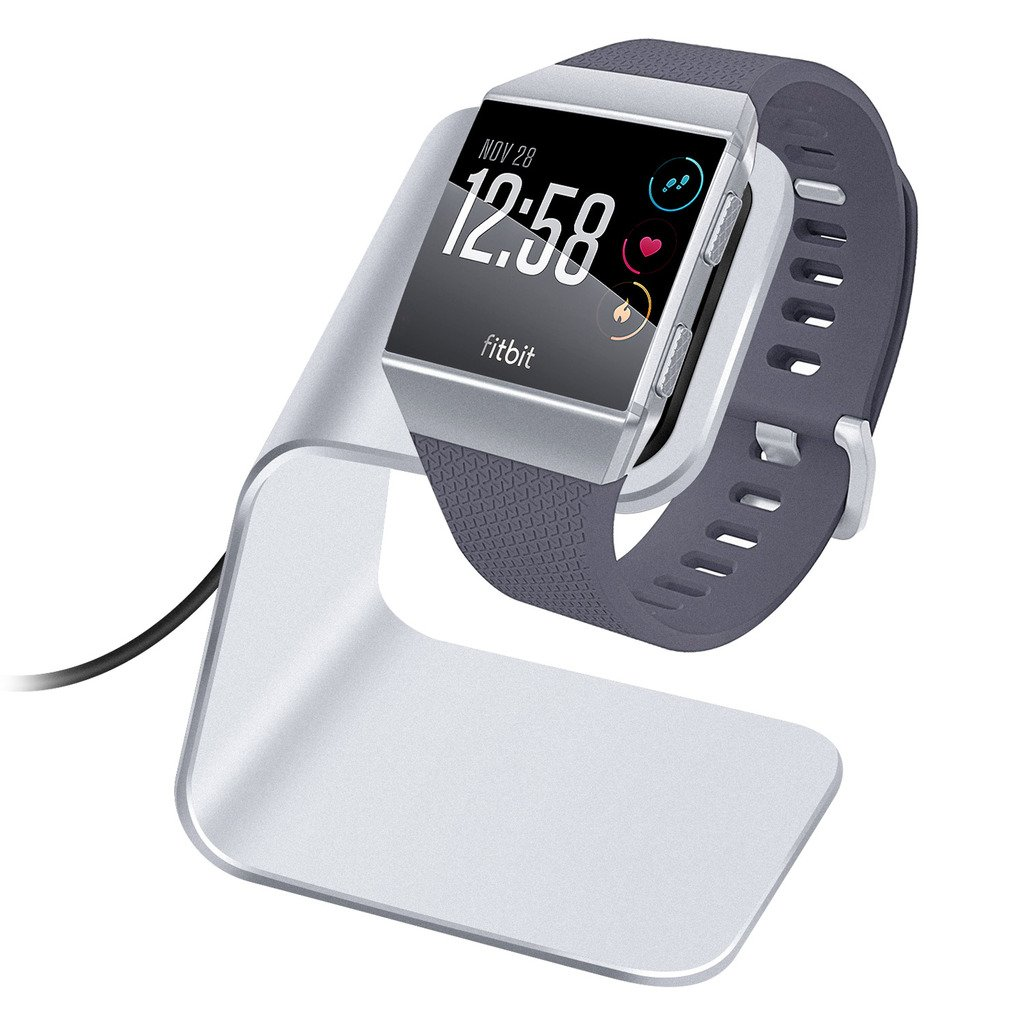 Kimilar Compatible Fitbit Ionic Charger Charging Stand Accessories, Premium Aluminum Charging Stand/Dock/Station with 3ft Charging Cable Compatible Ionic Smart watch (Can Charger with Case on), Silver