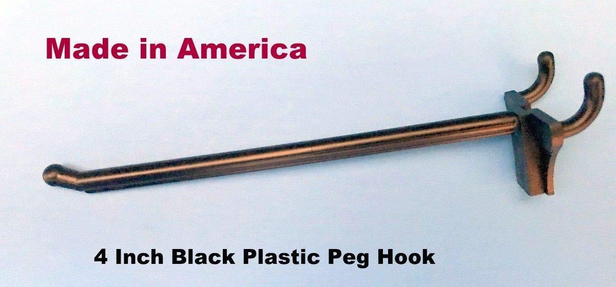 (10 PACK) 4 Inch Black Plastic Peg Kit. Garage Shelf Hanger Pegboard Hooks USA