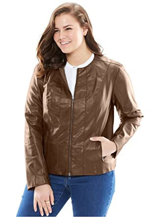 84b6690ccb8 Woman Within Women s Plus Size Faux Leather Jacket at Amazon Women s Coats  Shop
