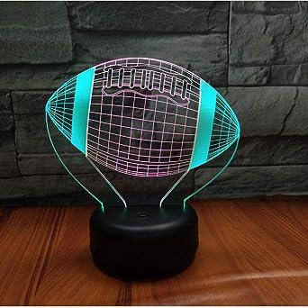 Mesita de noche Lámpara de noche de pelota de fútbol americano 3D ...