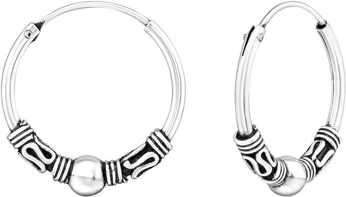 ICYROSE 925 Sterling Silver Small Tiny 3//8 Hoop 10mm Bali Endless Hoop Earrings 12385