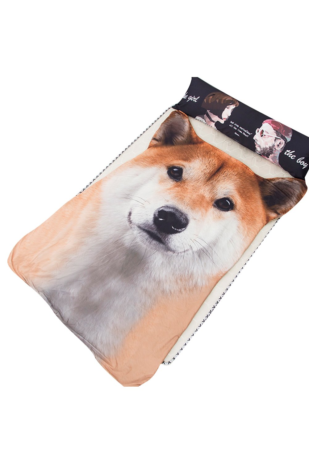 Getime 3D Animal Prints Blanket Bedding Dog Summer Quilt Shiba Comforter Washable Light Quilt