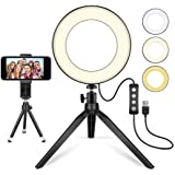 "LED Ring Light 6"" with Tripod Stand for YouTube Video and Makeup, Mini LED Camera Light with Cell Phone Holder Desktop…"