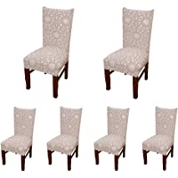 Dining Chair Covers, Donturn Super Fit Stretch Removable Washable Short Dining Chair Protect Cover Slipcover, 6 Pack