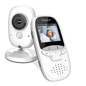 "Serene-Life Video Baby Monitor Long Range - Upgraded 850' Wireless Range Camera, Night Vision, Temperature Monitoring and Portable 2"" Color Screen - Serenelife SLBCAM11 (Grey)"