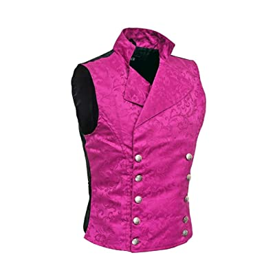 Men's Purple Brocade Double-Breasted Vest Waistcoat Gothic Aristocrat Steampunk Victorian at Amazon Men's Clothing store