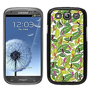 Funda carcasa para Samsung Galaxy S3 estampado hojas con ranas rosa borde negro