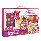 Make It Real Disney Princess Fashion Design Deluxe Set Watercolor. Disney Princesses Watercolor Set for Girls. Includes Sketch Pages, Paint Brushes, Watercolor Paints & Pencils, Stencils & Stickers