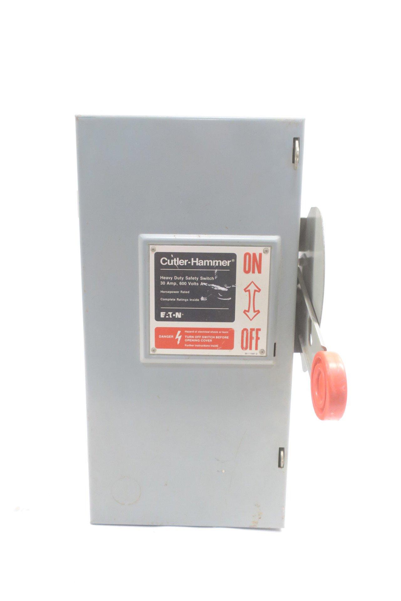 CUTLER HAMMER DH361FGK EATON HEAVY DUTY SAFETY SWITCH 30A 600V-AC D582771