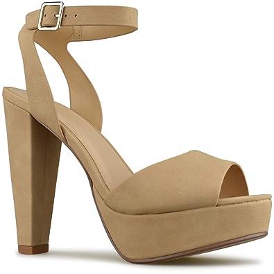 fad1bd69219 Premier Standard - Women s Platform Ankle Strap High Heel - Open Toe  Strappy Buckle Sandal Pump