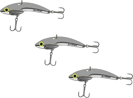 Acero Shad señuelo de Pesca – 3 Pack Plata – Pesca para el bajo, Pike, Musky, Walleye, Trucha, salmón y Striper: Amazon.es: Deportes y aire libre