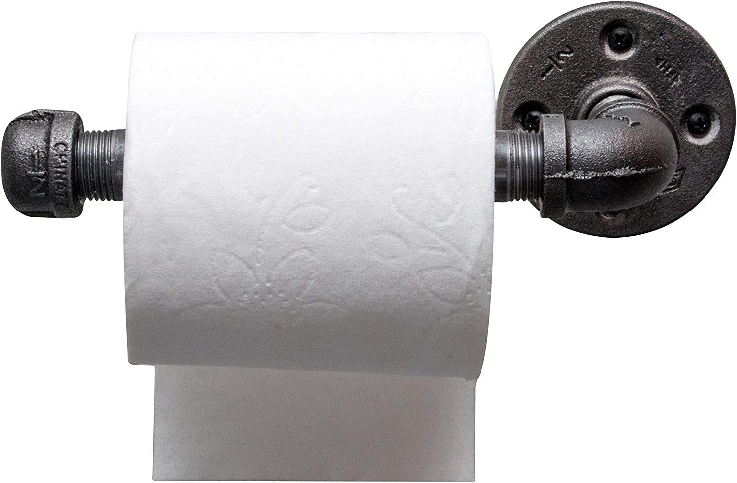 Ironwerks Industrial Toilet Paper Holder - Rustic Bathroom Décor, Matte Black Iron Towel Holders for Bathrooms   Real Matte Black Iron Material