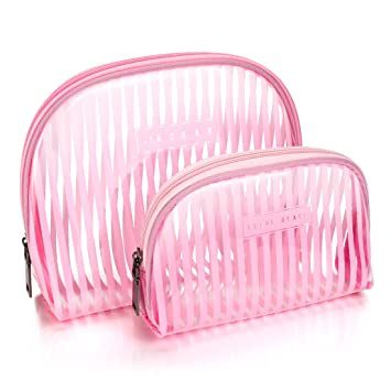 65c4eb37b463 Amazon.com   LazyBear Transparent Pink Travel Makeup Bag Pouch ...
