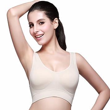 EKOUAER Sujetador Deportivo Sostén confortable blanco, negro color piel para Mujer