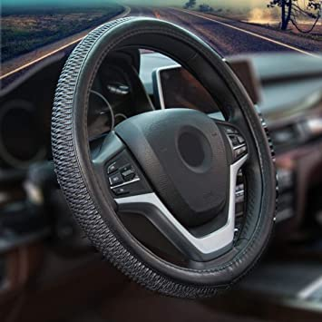 Micro Fiber Leather Car Steering wheel Cover for Women 15 inches Black Pink
