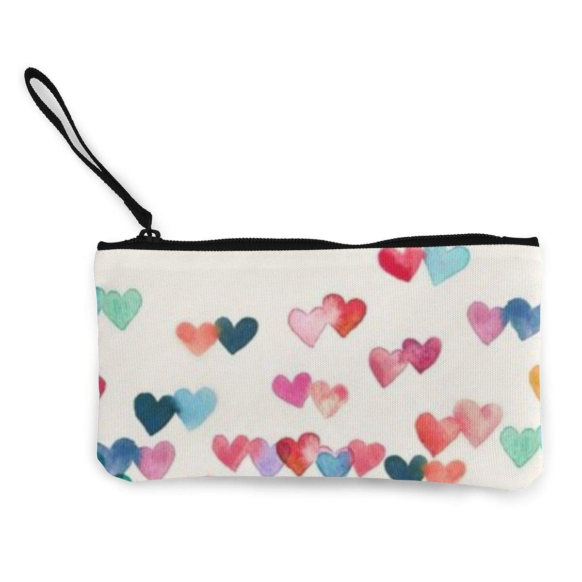 Canvas Cash Coin Purse,Red And Blue Heart Print Make Up Bag Zipper Small Purse Wallets