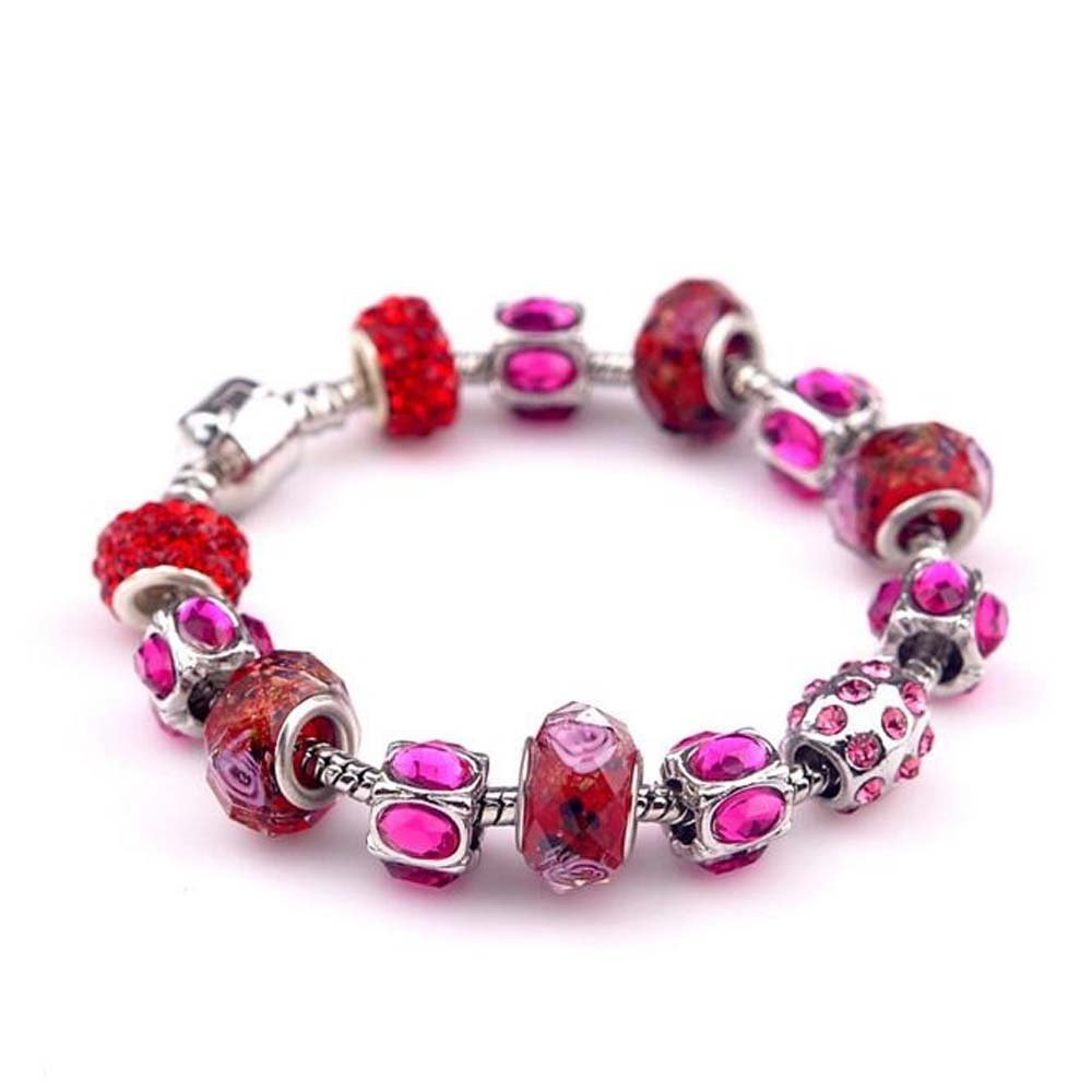 The Starry Night Pink Diamond Accented Glass Beaded Charming Crystal Red Lover DIY Bracelet