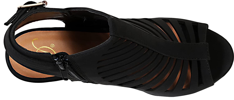 Delicious Womens Shaky Nubuck Leather Peep Toe Slingback High Heels 4 1//2