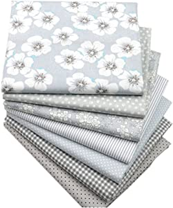 """Hanjunzhao Quilting Fabric,Grey Fat Quarters Fabric Bundles,100% Cotton Fabric for Sewing Crafting,Print Floral Striped Polka Dot Gingham Fabric,18"""" x 22""""(Grey)"""