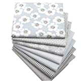 """Hanjunzhao Quilting Fabric,Grey Fat Quarters Fabric Bundles,100% Cotton Fabric for Sewing Crafting,Print Floral Striped Polka Dot Gingham Fabric,18"""" x"""
