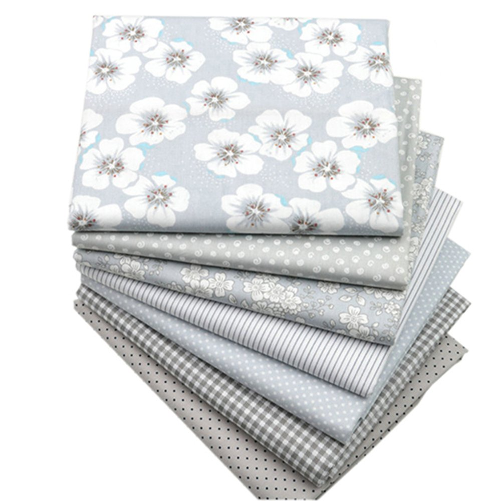 Hanjunzhao Quilting Fabric,Grey Fat Quarters Fabric Bundles,100% Cotton Fabric for Sewing Crafting,Print Floral Striped Polka Dot Gingham Fabric,18'' x 22''(Grey)