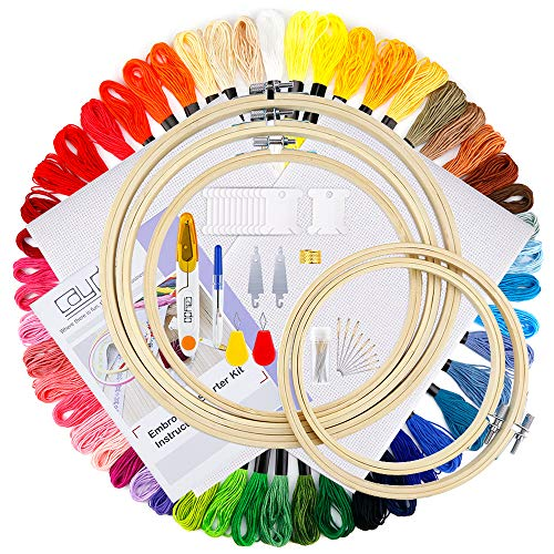 Caydo Full Range of Embroidery Starter Kit Including Instructions, 5 Pieces Bamboo Embroidery Hoops, 50 Color Threads, 2 Pieces Aida Cloth, Circular Packing Bag and Cross Stitch Tool Kit for Beginners ()