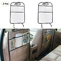 Kick Tapis avec organiseur pour siège arrière de voiture et poche de rangement–Lot de 2–100% étanche–Premium Film de protection pour siège auto Blanc