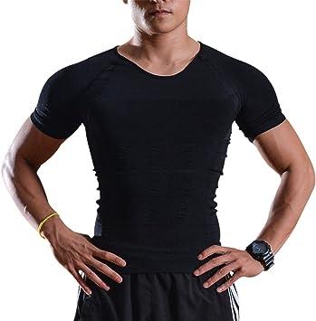 Image Camisa de Compresión, Body Shaper para Hombres, Camiseta de Compresión para Hombres, Camisa de Compresión Muscular para Gimnasio, Camiseta Deportiva de Manga Corta, Camiseta Negra para Hombre: Amazon.es: Deportes y aire