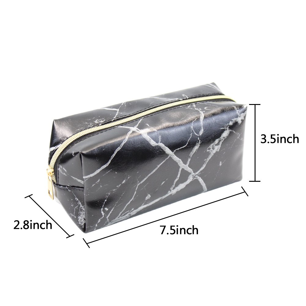 2 Pieces Cosmetic Toiletry Makeup Bag Pouch Gold Zipper Storage Bag Marble Pattern Portable Makeup Brushes Bag (White and Black) by Erlvery DaMain (Image #3)