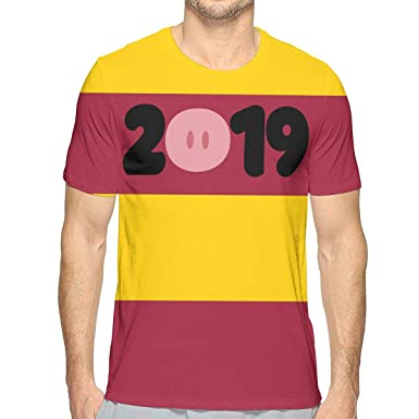 8d9402d2e2e2 Happy New Year 2019 Year of The Pig Fashion 3D Casual Short-Sleeved Tshirt  for