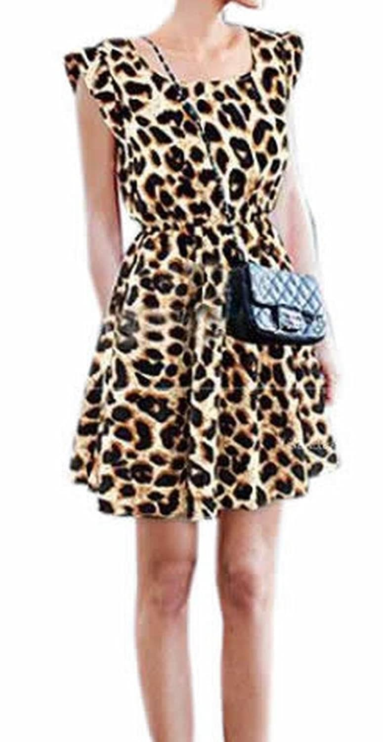 KXP Womens Classic Sexy Evening Club Sleeveless Leopard Dresses