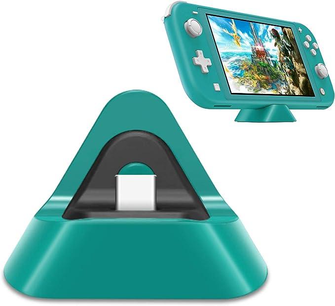 Base de carga portátil para Nintendo Switch Lite y Nintendo Switch, soporte estable estación de carga para Switch Lite con puerto de entrada tipo C (turquesa): Amazon.es: Videojuegos