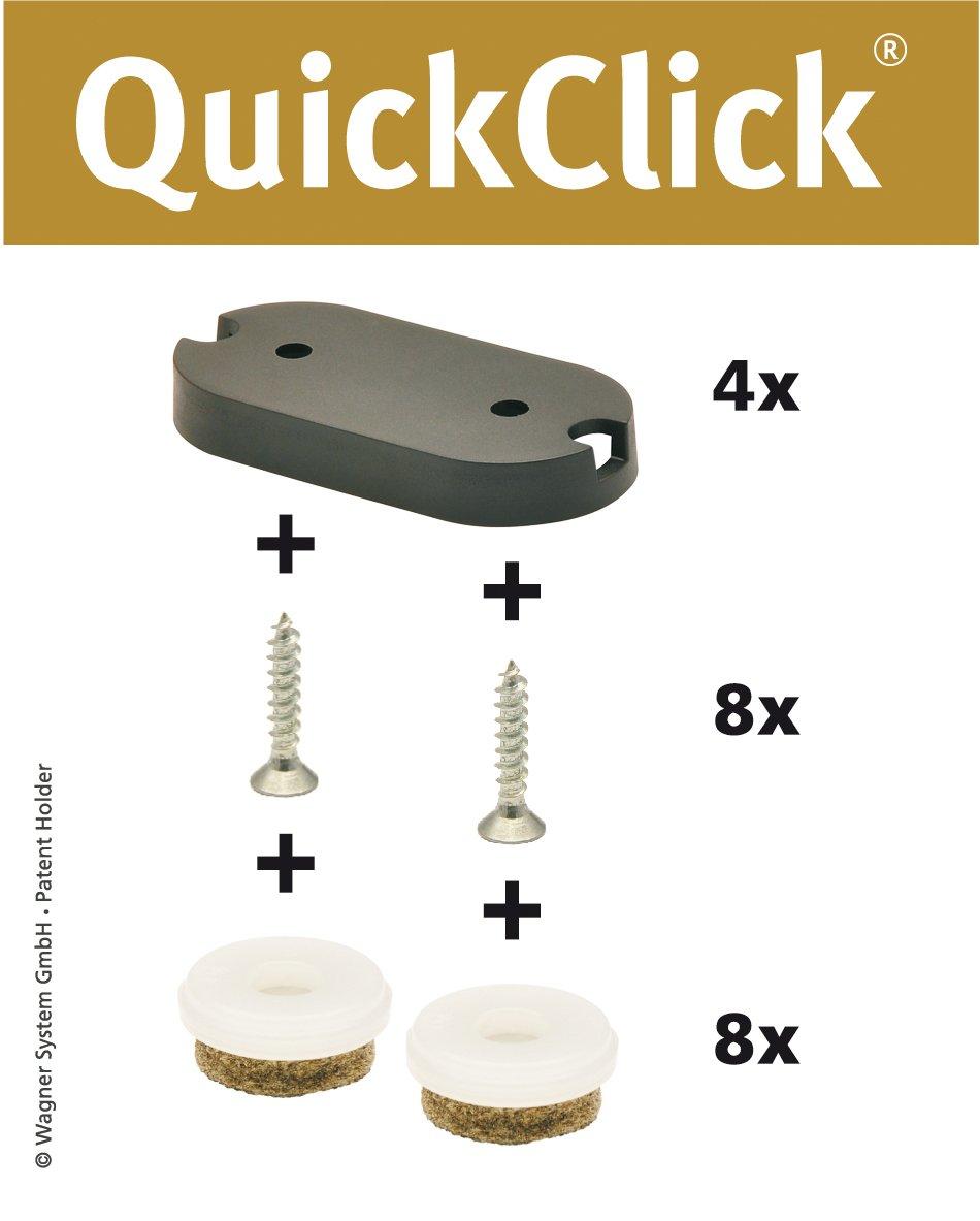 'Wagner QuickClick® Sedia gleiter//set da avvitare//'Ultra Soft–42X 20mm–15781100 Wagner System GmbH .