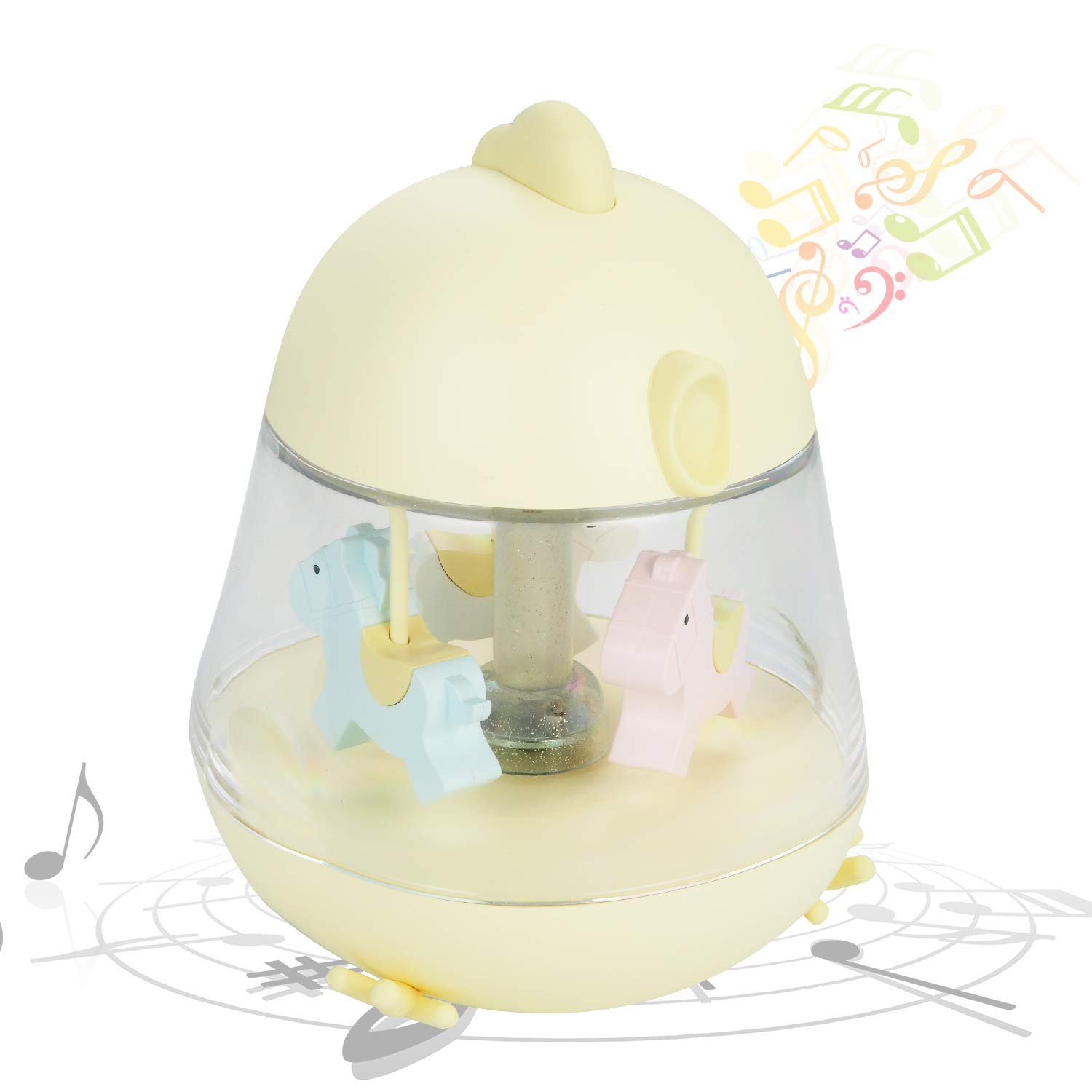 iEGrow Carousel Music Box, Touch Sensor LED Night Lights with USB Charging, 7 Color Gradient Lamp, Musical Toys Gifts for Kids, Baby, Birthday,Wedding (Yellow)
