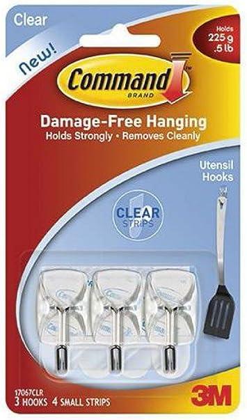 Blanco Command W17067 Pack de 3 Ganchos para Utensilios peque/ños Set de 3 Piezas Resistente al Agua